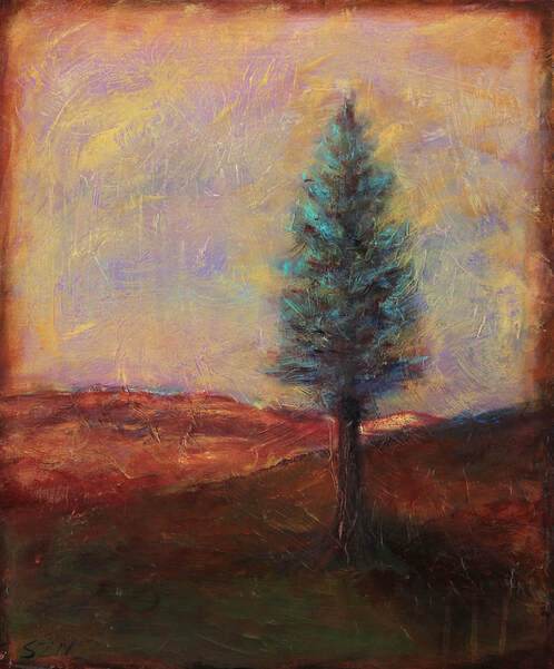Painting of lone tree at dusk
